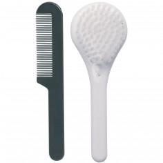 Set coiffure brosse et peigne blanc neige