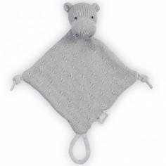 Doudou attache sucette hippopotame tricot gris