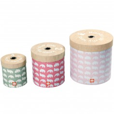 Lot de 3 boîtes de rangement rondes rose