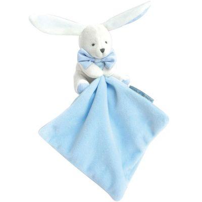 Doudou plat lapin bleu J'aime mon doudou  par Doudou et Compagnie