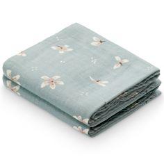Lot de 2 langes en coton bio Windflower Blue (70 x 70 cm)