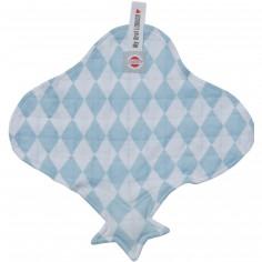 Doudou plat attache sucette bleu et blanc cuddler