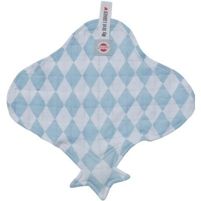 Doudou plat attache sucette bleu et blanc cuddler Lodger