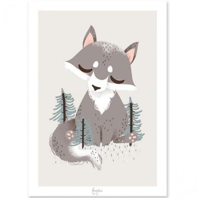 Affiche A4 les Animignons le loup  par Kanzilue