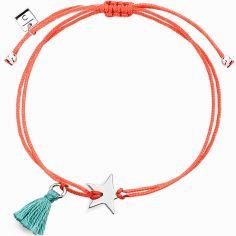Bracelet cordon corail Mini Coquine étoile (argent 925°)
