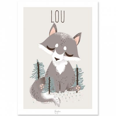 Affiche A4 les Animignons le loup (personnalisable)  par Kanzilue