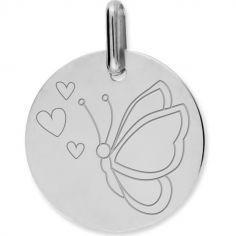 Médaille papillon cœur personnalisable (or blanc 375°)