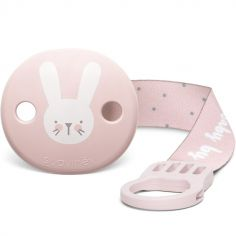 Attache sucette ruban Hygge Baby lapin rose
