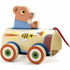 Jouet à tirer ours en voiture RoliMax