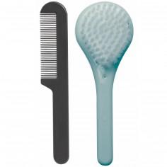 Set de coiffure peigne et brosse vert d'eau