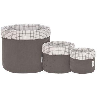 Lot de 3 paniers de toilette en mousseline anthracite  par Lässig