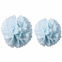 Pompons papier de soie bleu ciel (2 pièces)