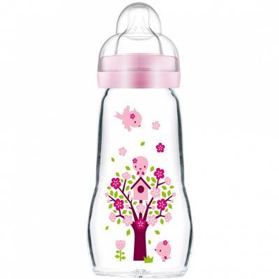 Biberon verre Opaque & Quarz Rose arbre et oiseaux - débit 2 moyen (260 ml)  par MAM