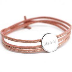 Bracelet cuir maman Amazone médaille (argent 925°)