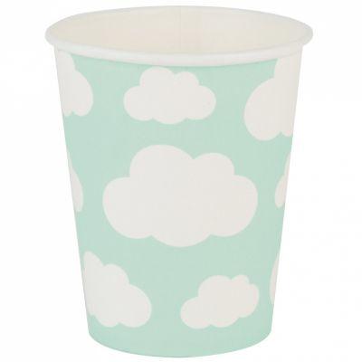 Gobelets en carton nuages aqua (8 pièces)  par My Little Day