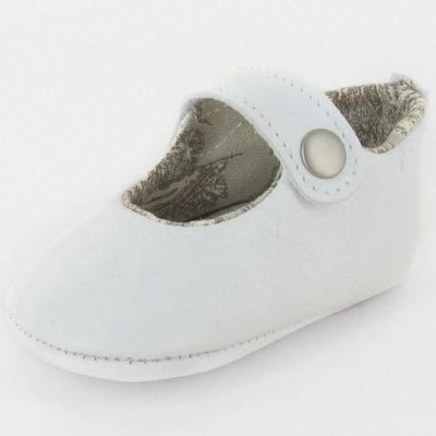 Chaussons baptême bébé prestige ballerine Marquise cuir blanc (0-3 mois) Le Petit Fils du cordonnier