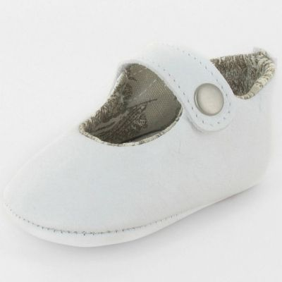 Chaussons baptême bébé prestige ballerine Marquise cuir blanc (0-3 mois)  par Le Petit Fils du cordonnier