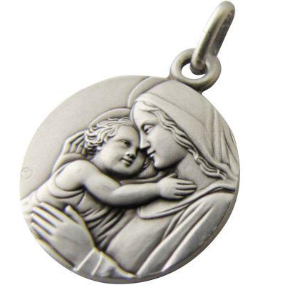 Médaille Vierge à l'enfant 18 mm (argent 925°) Martineau