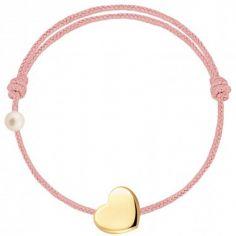 Bracelet cordon Coeur et perle rose poudré (or jaune 750°)