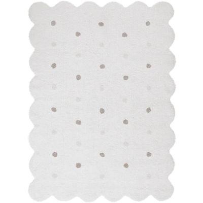 Tapis lavable biscuit blanc à pois (120 x 160 cm)  par Lorena Canals