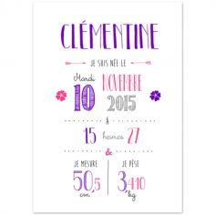 Affiche de naissance A4 violette (personnalisable)