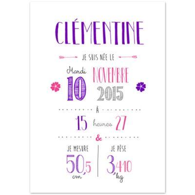 Affiche de naissance A4 violette (personnalisable)  par La Poupette à paillettes