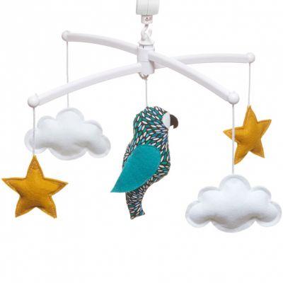 Mobile musical perroquet bleu (mélodie au choix)