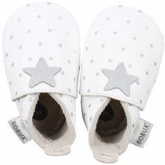 Chaussons bébé en cuir Soft soles Étoile gris et blancs (9-15 mois)