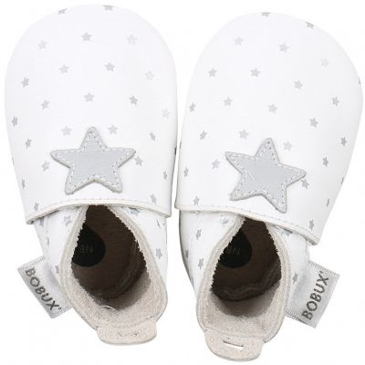 Chaussons bébé en cuir Soft soles Étoile gris et blancs (9-15 mois)  par Bobux