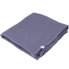 Lange en coton bleu blueberry (90 x 90 cm)
