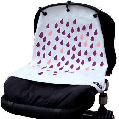 Protection pour poussette Baby Peace coton bio Pluie blanc et rose Kurtis