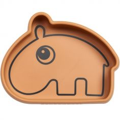 Bol antidérapant silicone Ozzo hippopotame moutarde