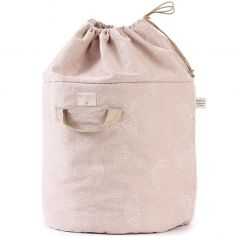 Sac à jouets Bamboo White bubble Misty pink