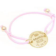 Bracelet cordon rose médaille de naissance (plaqué or jaune)