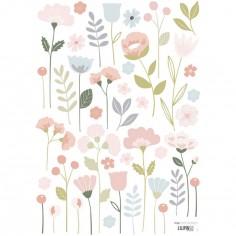 Planche de stickers A3 de fleurs tiges