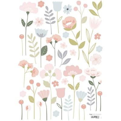 Planche de stickers A3 de fleurs tiges  par Lilipinso
