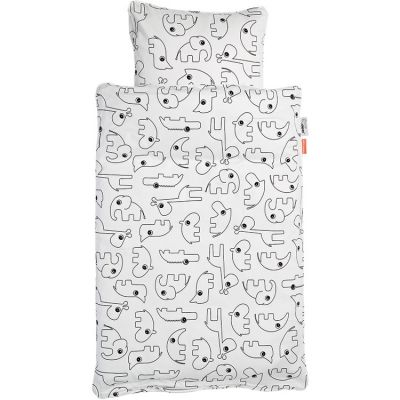 Housse de couette (100 x 140 cm) et taie (40 x 60 cm) Contour blanc Done by Deer