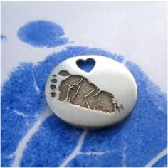 Pendentif empreinte pastille 14.8 mm trou coeur avec cordon (argent 925°)