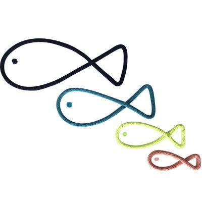 Déco murale 4 poissons en tricotin (personnalisable)  par Charlie & June