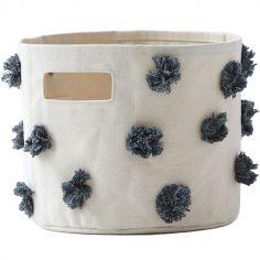 Panier de toilette pompons gris anthracite (20 x 18 cm)