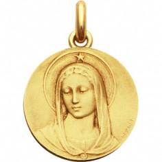 Médaille Vierge Maris Stella ronde (or jaune 750°)