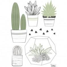 Planche de stickers A3 de cactus en pots