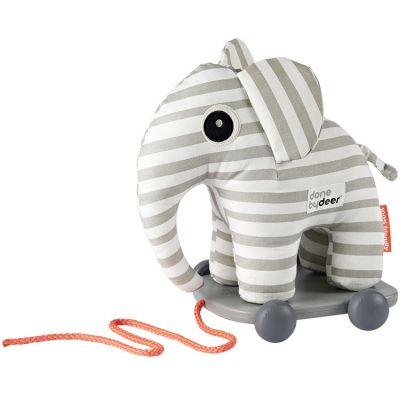 Jouet à tirer avec aimant Elphee éléphant gris  par Done by Deer