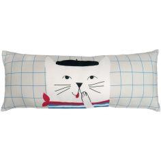 Coussin rectangulaire brodé chat français (50 x 20 cm)