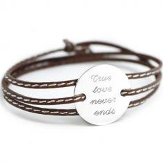 Bracelet cuir maman Amazone family (argent 925°)