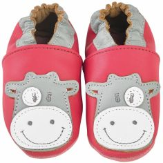 Chaussons cuir Lola framboise (0-6 mois)
