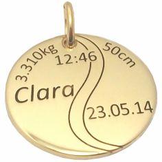 Médaille de naissance balle de tennis personnalisable (or jaune 375°)