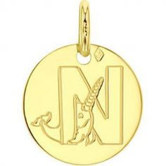 Médaille N comme narval personnalisable (or jaune 750°)