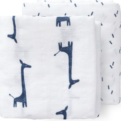 Lot de 2 langes Girafe bleu indigo (70 x 60 cm)