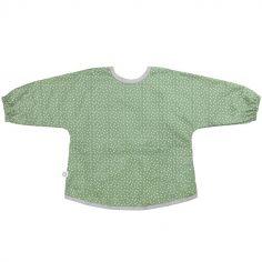 Bavoir à manches longues vert à pois en coton bio enduit (1-3 ans)